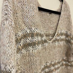 Free People V Neck Fuzzy Tan Striped Sweater